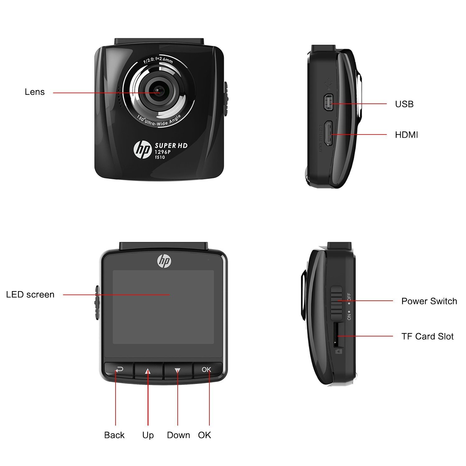 HP Super HD 1296p In Car Dash Cam Camera DVR Digital Driving Video Recorder High Definition 2304x1296 Pixels Resolution Increased by 44% Compared with 1080p 6