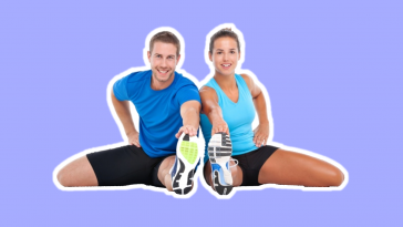 Healthy Man and Woman on blue background