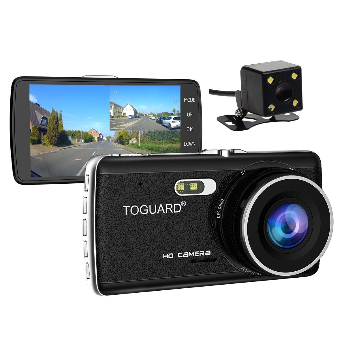 TOGUARD Dual Lens Dash Cam front and rear recording ATST, Night Vision,4.0'' IPS Screen,HD 1080P Car Dash Camera, Rearview Backup Camera,170 Degree Wide Angle, WDR, Loop Recording, G-sensor, Parking monitor