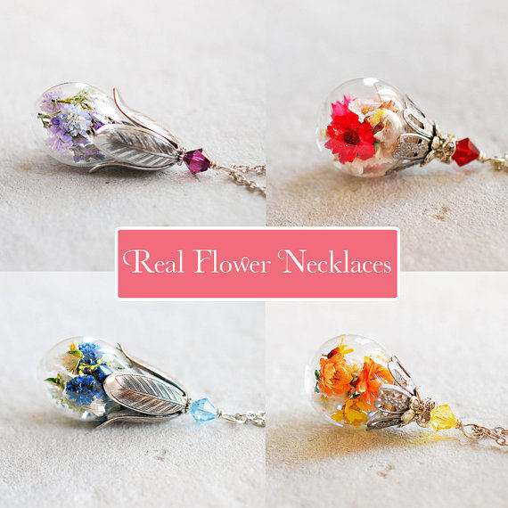 Real Flower Necklaces Sealed In Glass