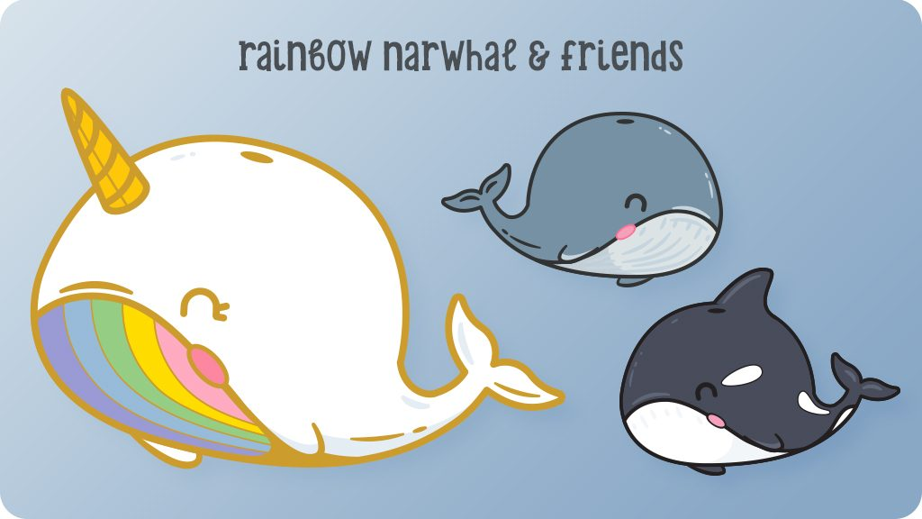 Rainbow Narwhale and Friends On Blue Background