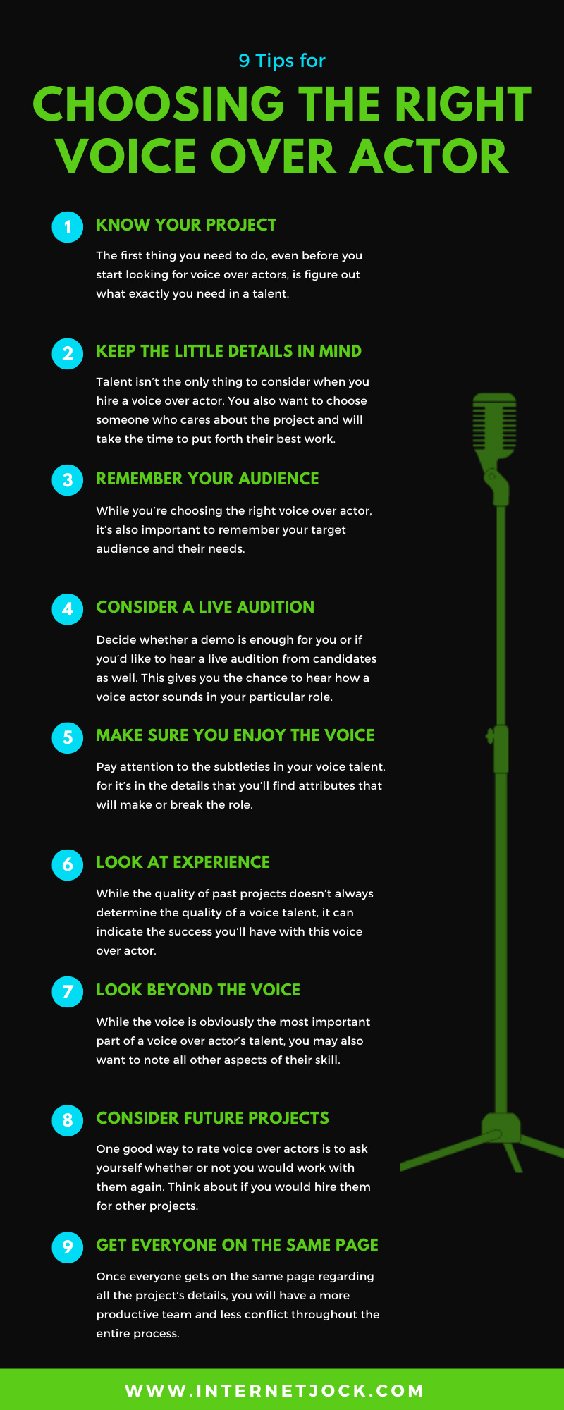 9 Tips for Choosing the Right Voice Over Actor infographic